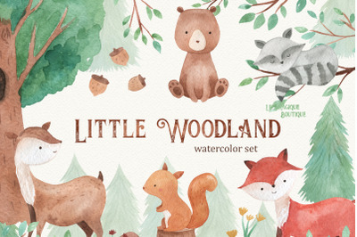 Little Woodland Watercolor Clipart