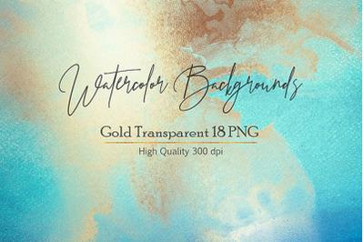Blue Gold Watercolor Backgrouns