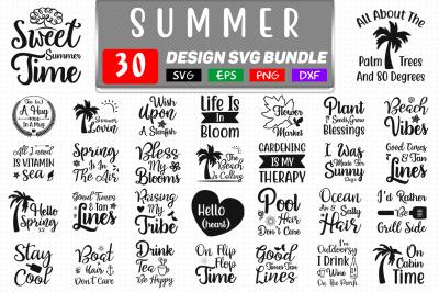 30 Summer Quotes SVG Bundle,  Summer T shirt Design