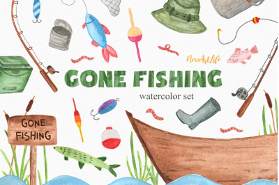 Fishing Watercolor Clipart Set
