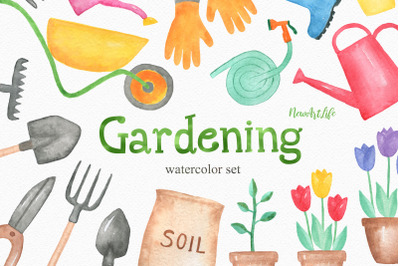 Watercolor Gardening Spring Clipart Set
