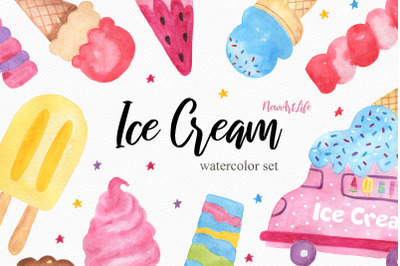 Watercolor Ice Cream Clipart Set