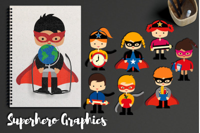 Back to school superhero illustrations