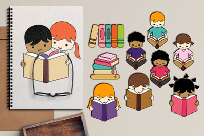 Back to school reading illustrations