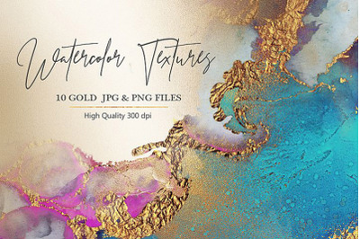 Watercolor Gold PNG & JPG Textures