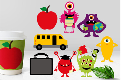 Back to school monsters illustrations