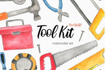 Watercolor Tool Kit Set Clipart