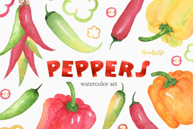 Watercolor Peppers Set