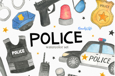 Watercolor Police Set