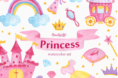 Princess Watercolor Clipart Set
