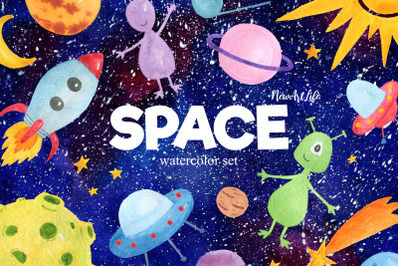 Space Watercolor Clipart Set