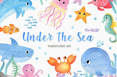 Under The Sea Watercolor Clipart