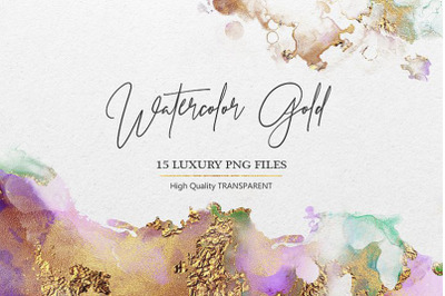 Watercolor Gold PNG Textures