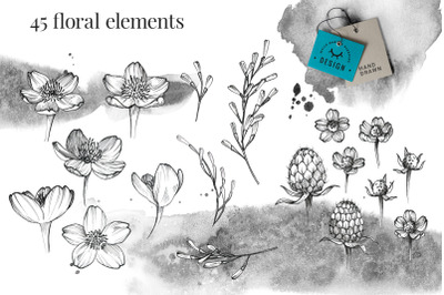 Black Ink Flowers, Crystals and berries