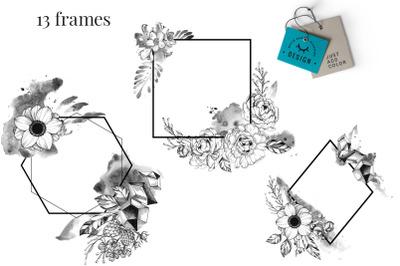 Black Ink Floral Frames