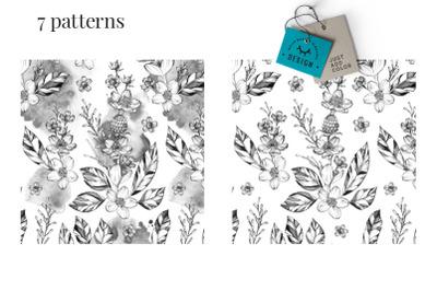 Black Ink Seamless Patterns