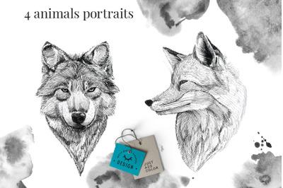 Black Ink Animals Portraits