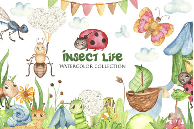 Insect life. Watercolor collection.