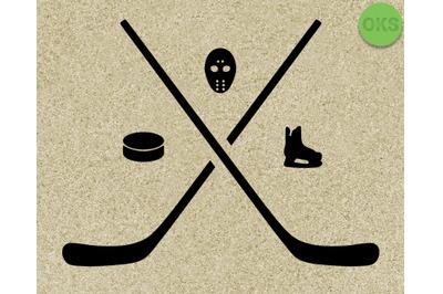 hockey stick, puck, skates vector illustration