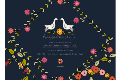 Hand-drawn Floral Clipart Set