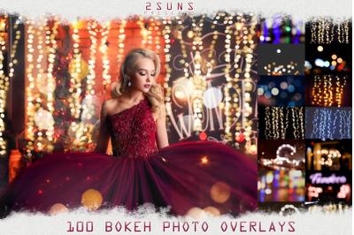 100 Bokeh lights Effect Photo Overlays Christmas Wedding