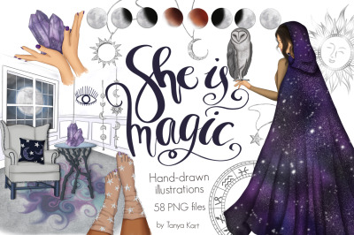 She Is Magic Clipart & Patterns