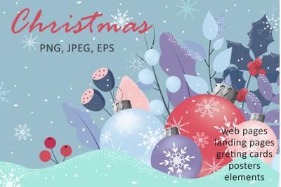 Christmas set. Winter vector illustrations.
