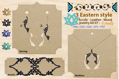 Eastern style acrylic leather wood jewelry kit 07