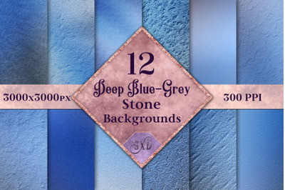 Deep Blue-Grey Stone Backgrounds - 12 Image Textures Set