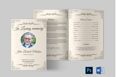 Funeral Program Template | Obituary Program Template