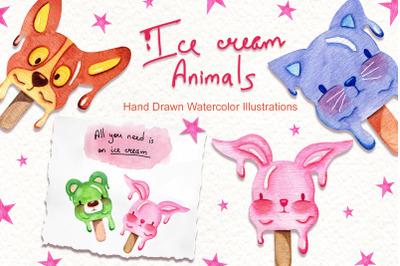 Watercolor Ice Cream Animals