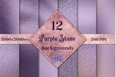 Purple Stone Backgrounds - 12 Image Textures Set