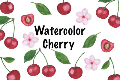 Watercolor cherry set Pattern Cherry berry Watercolor Digital paper se