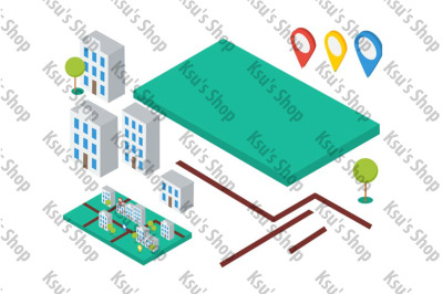Isometric elements for city map. Buildings, trees, gps icons
