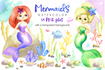 Mermaids. Watercolor cliparts set.