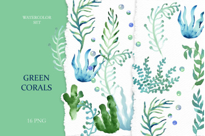 Watercolor Green Corals Clipart