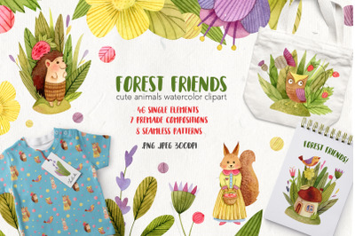 Watercolor Animals - Forest Friends