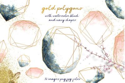 Blush & Navy Gold Polygons