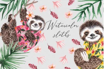 Watercolor Sloths