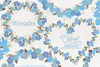 Cosmos 02 Wreaths - Blue Flower Clipart & Vector Graphics