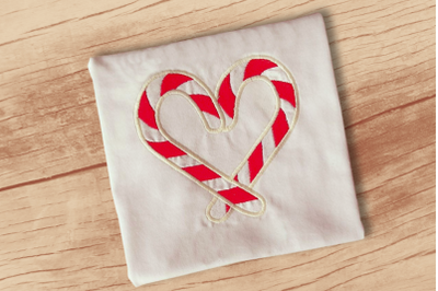 Candy Cane Heart | Applique Embroidery
