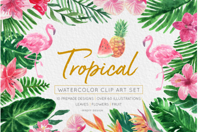 SALE Tropical Watercolor Florals Set