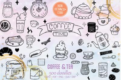 Coffee & Tea | Hand Drawn Cookies, Espresso Machine, Cups