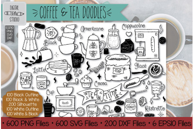 600 Coffee and Tea Doodles Hand Drawn Illustrations Bundle