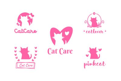 Cat care, pet shop, cat lover logo