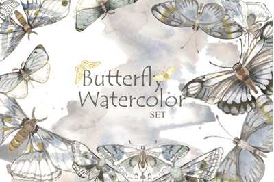 Mystical watercolor butterfly clipart.