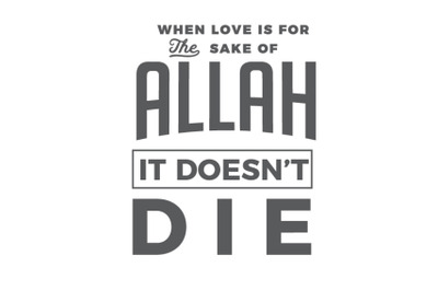 When love is for the sake of Allah, it doesnt die.