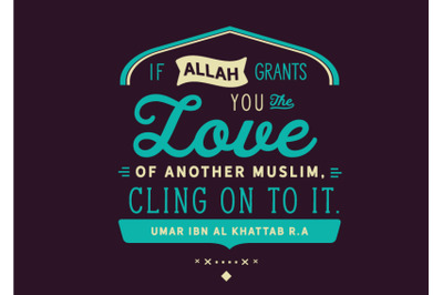 if Allah grants you the love of another muslim, cling on to it