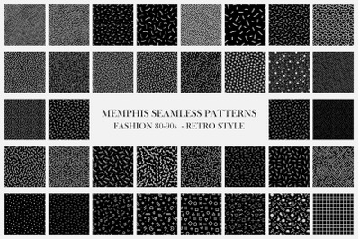 Dark trendy seamless vector patterns