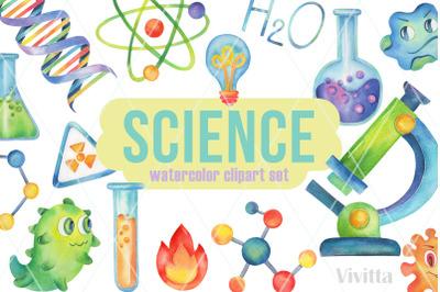 Science Party watercolor clipart,Chemistry, coronavirus